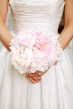 Soft and feminine #wedding #bouquet with French blush and pale pink #peonies. Photographed by Sarah DiCicco.