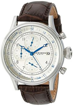 Akribos XXIV Mens AK798SSBR Chronograph Quartz Movement Watch with Silver Dial and Brown Leather Strap ** You can find more details by visiting the image link. (This is an Amazon affiliate link)