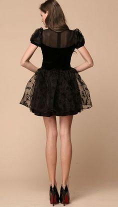 Black Short Sleeve Skull Rhinestone Organza Dress