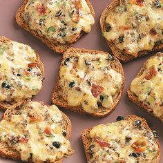 """Cheese Rye Appetizers Recipe -""""I enjoy serving this hors d'oeuvre at family gatherings. It can be mixed ahead of time, refrigerated, and then spread on bread and baked at the last minute. Even kids like it."""" —Joyce Dykstra, Lansing, Illinois"""