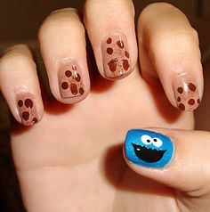 Definitely a must for the bean's first manicure. :)  Cookie Monster Nails & Chocolate Chip Cookies nail art* THE REMAKE + Tutorial! | Polished Love ♥