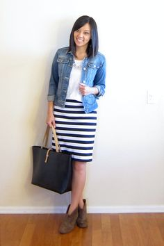 denim jacket + striped skirt