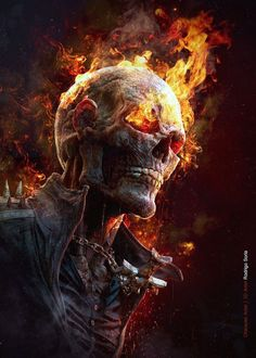 Ghost Rider, based on the concept by Dave Rapoza, modeled in ZBrush, rendered in KeyShot by Rodrigo Soria. Comic Book Characters, Comic Character, Comic Books Art, Comic Art, Marvel Comics Art, Marvel Heroes, Captain Marvel, Mcu Marvel, Rauch Tapete