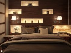 Przytulna sypialnia w drewnie - Sypialnia - Styl Nowoczesny - SyntErr Design