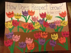 Respect lesson activity how does respect grow? Awesome Circle time project for Early Childhood classes. Modeling language and getting those beginning thinkers on the right road to manners. Respect Activities, Teaching Respect, Social Skills Activities, Classroom Activities, Kindness Activities, Group Activities, Classroom Ideas, Elementary Counseling, School Counselor