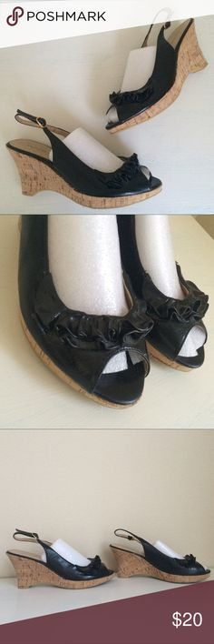Chinese Laundry Black Peeptoe Wedges Super cute wedges by Chinese Laundry! Worn once. Size 10 M. 💐 Check Out my Closet I love to Bundle Discount 💘 Chinese Laundry Shoes Wedges
