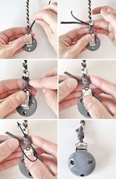 How to tie a braided pacifier clip How to braid to make a rope for a pacificer pacifier chains craft set, gray and white leather cord braid, homemade pacifier chain Source by Pacifier Clip Tutorial, Pacifier Clips, Leather Cord, White Leather, Diy Bebe, Diy Accessoires, Dummy Clips, Baby Teethers, Baby Crafts