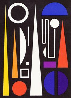 """Auguste Herbin Composition sur le mot """"Minuit"""", 1953"""