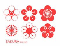 Cherry blossom. Sakura. Icon set Royalty Free Stock Photos