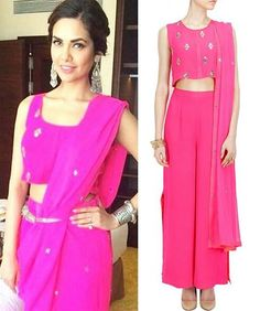 GET THIS LOOK: Esha Gupta looks elegant in this pink embroidered top with palazzos pants by Neeta Lulla. Shop the designer now at:http://www.perniaspopupshop.com/designers-1/neeta-lulla #perniaspopupshop #neetalulla #eshagupta #celebrity #designer #palazzo #pants #fashion #trendy #chic #shopnow #happyshopping