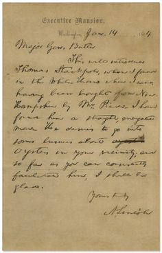 Abraham Lincoln Recommends a Franklin Pierce White House Appointee, the Mysterious Thomas Stackpole, to General Butler