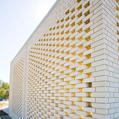 Botswana Embassy in Australia traditional identity with modern aesthetics Brick Fence, Brick Facade, Facade House, Brick Design, Facade Design, Exterior Design, Brick Architecture, Architecture Details, Modern Brick House