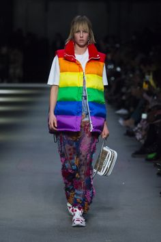 Rainbow gilet with a reissued T-shirt and hand-beaded sleeveless dress, The Link bag in 1983 check and spot print sneakers #BurberryShow #LFW