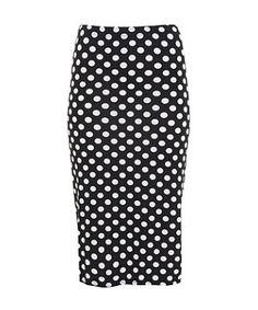 Black Pattern (Black) Black and White Polka Dot Midi Skirt    281419109   New Look