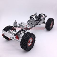 1/10 AXIAL SCX10 Chassis CNC Aluminum And Carbon Frame 313mm Wheelbase Silver #CoolRacing