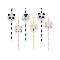 Mini Animal Straws My Little Day. Party Paper Straws with Mini Animals that are just too Cute ! Penguins, Pandas, Cats and Dogs. Pretty Perfect for all Little Party People. Great for a kawaii theme and children's unique parties. Pack of 12 Preschool Birthday, Kids Birthday Themes, Cat Birthday, 1st Birthday Parties, Animal Birthday, Birthday Cake, Party Animals, Animal Party, Invitations
