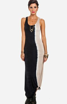 Dip Dyed Maxi Dress in Black / Beige S - L | DAILYLOOK