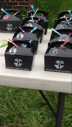 """""""You have completed your mission"""" goodies boxes for a call of duty ghost party"""