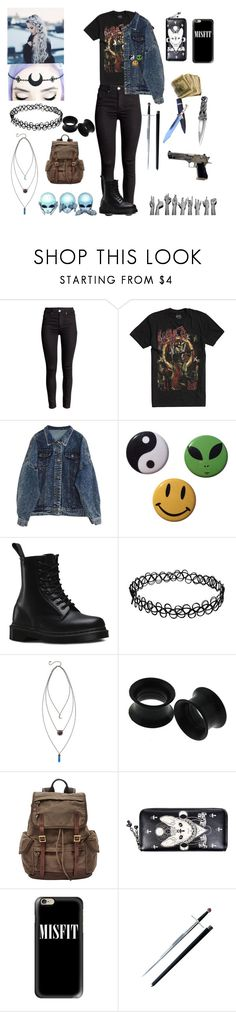 """💀👽"" by threedaystoremember ❤ liked on Polyvore featuring Dr. Martens, FOSSIL and Casetify"
