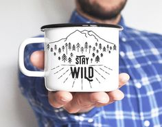 Camping Mug Travel Mug Enamel Mug Adventure Mug by nokkvalley