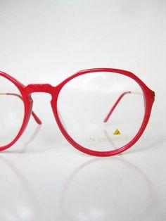 fe0d06dedb2c Vintage Round Red Eyeglasses Bright Cherry 1980s Crimson P3 Oversized  Wayfarer 80s Mens Womens Unisex Indie