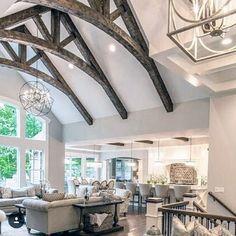 Vaulted Ceiling Bedroom, Vaulted Ceiling Lighting, Vaulted Ceiling Kitchen, Ceiling Beams, Vaulted Ceilings, Home Design, Kitchen Chandelier, Chandelier Ideas, Wood Beams
