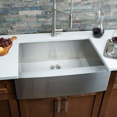 "Buy the Miseno MSS163020F 16 Gauge Stainless Steel Direct. Shop for the Miseno MSS163020F 16 Gauge Stainless Steel Farmhouse 30"" Single Basin Stainless Steel Kitchen Sink with Apron Front - Drain Assembly, Basin Rack and Maintenance Kit Included Free and save."