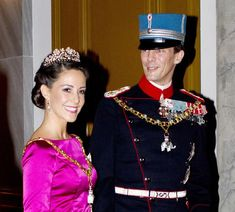 Princess Marie of Denmark looked stunning in a pink satin gown and the same diamond tiara she wore at her wedding in 2008. Owned by the evening's host, Queen Margrethe, the headgear was a present from her parents, King Frederik and Queen Ingrid. It originally belonged to Princess Dagmar, Frederik VIII's (1843-1912) youngest daughter.