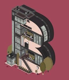 These Amazing Gifs Turn Letters of the Alphabet Into Living, Breathing Buildings