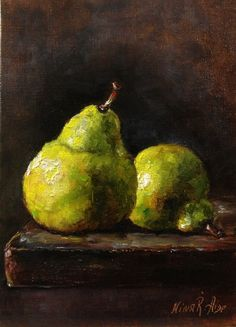 "Two Green Pears Original Oil Painting  by Nina R.Aide Linen panel 7""x5"" Fine Art Still Life Fruit See Pictures"