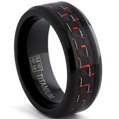 Oliveti Black Titanium Men's Black and Red Carbon Fiber Comfort Fit Band (8mm)   Overstock.com Shopping - The Best Deals on Men's Rings
