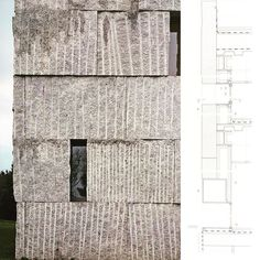 Academy of Music in Satiago de Compostela  Architects: Antón Garcia-Arbil, Javier Cuesta  •  The monolithic form is made of thick granite panels, rough-hewn slabs that tells the story of its extraction.  •  #fachada #iarchitectures #architecturaldetail #designthinking #arquitectura #facade #arqsketch #design #detail #architecturelovers #facadelyfe #design #archdaily #architecture  #architectureporn #arqsketch #architecturestudio #drawings