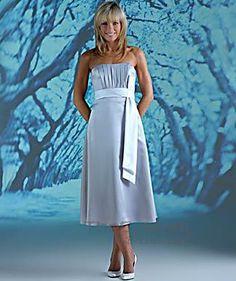 A-line Strapless Tea-length Satin Bridesmaid Dresses 10308857