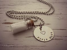 PIXIE DUST glass jar necklace - hand stamped - silver - heart - your c - Whispering Metalworks