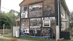The black and white mural is now the centerpiece of the Youngstown Sheet and Tube Company Homes neighborhood.