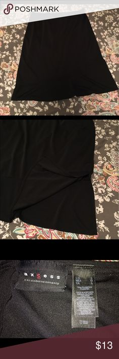 """Black a-line skirt Black a-line skirt with side slit. Stretchy material. Hits just below knee (on 5'6"""" woman) Axcess Skirts A-Line or Full"""