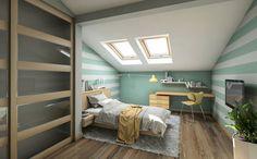 mansarda moderna con le pareti, che il colore di verde e bianco, c'è un armadio, attrezzato con tavolo e sedie moderne, c'è un vaso di fiori