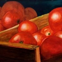 joanne beaudet Online Pharmacy, Pills, Scarlet, Watercolors, Tomatoes, Vegetables, Life, Water Colors, Watercolor Paintings