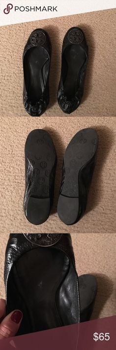 Tory burch ballet flats Black leather Tory burch ballet flats. Please see  pic for condition