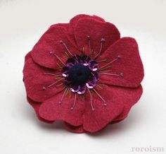 PINK Embroiderd Felt ANEMONE Flower Pin by roroism on Etsy, $17.50