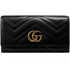 Gucci GG Marmont continental wallet ($680) ❤ liked on Polyvore featuring bags, wallets, wallet, black, leather snap wallet, 100 leather wallet, real leather bags, leather continental wallet and tablet bag