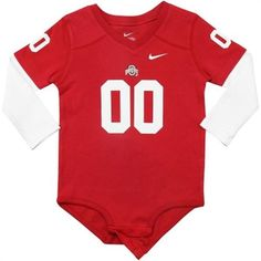 Nike Ohio State Buckeyes Infant Football Jersey Long Sleeve Creeper - Scarlet/White is available now at FansEdge. Ohio State Baby, Nike Ohio State, Ohio State Buckeyes, Kentucky Wildcats, Baby & Toddler Clothing, Scarlet, Royal Blue, Kids Outfits, Creeper
