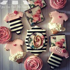 baby shower cookies~ by You Can Call Me Sweetie, Pink, Black, Onesie, Rosebud, Stripes, Roses