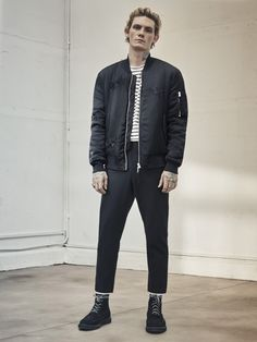 AllSaints Men's August Lookbook Look 3: Kyushu Bomber, Hydra Crew, Pico Trouser, Moth Boot