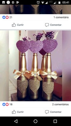Wine Bottle Centerpieces, Wedding Centerpieces, Wine Bottle Crafts, Bottle Art, Diy Party Decorations, Balloon Decorations, Bling Bottles, Baby Shower Deco, Christmas Crafts For Adults