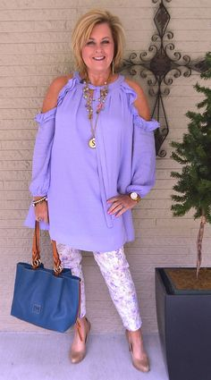 50 IS NOT OLD | FASHION FLASH AND A COLD SHOULDER | Tunic Top | Flowy | Lilac | Pixie Pants | Fashion over 40 for the everyday woman | Spring Outfit | Cold Shoulder