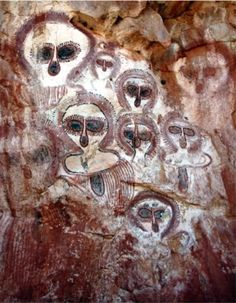 "Ancient cave paintings, which eerily resemble the alien species,  known as ""The Greys"". They also resemble harp seals, some type of primate, or possibly owls... you decide?"