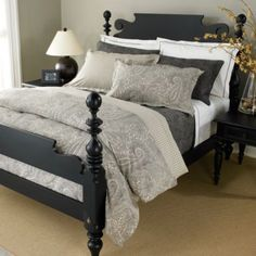 I love the gray paisley bedding & the bed frame