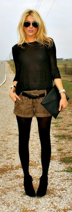 Shorts, belt and tights, it just works! Enjoy RushWorld boards,  UNPREDICTABLE WOMEN HAUTE COUTURE, WTF FASHIONS and WELCOME TO HELL HERE ARE YOUR SHOES.  See you at RushWorld on Pinterest! New content daily, always something you'll love!