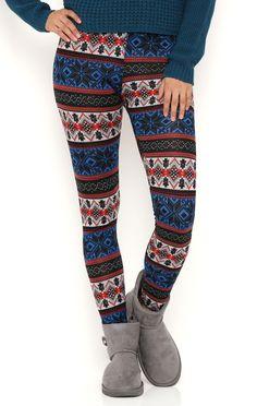Deb Shops Reindeer Print Leggings $9.60